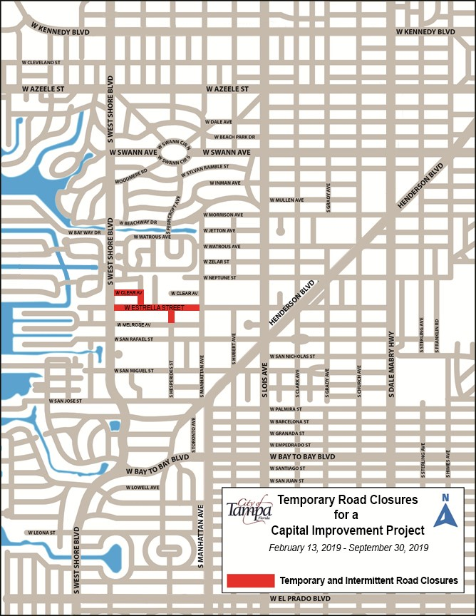 Marp showing Temporary Road Closure in South Tampa off Estrella Street